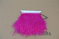 Бесплатная доставка ярко-розовый страусиное перо обрезки бахрома страусиное перо бахрома перо отделка 5-6 дюймов в ширину для шить / ремесло customes