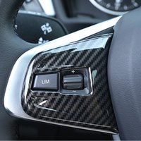 BMW의 X1의 F48 2016-18 2 시리즈 액티브 투어러의 F45를 들어 탄소 섬유 스타일 스티어링 휠 버튼 프레임 장식 커버 트림 2 개