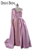 2018 Ball Gown Prom Dresses Blush Pink with Puffy Overskirt One-shoulder Long Sleeves Lace Pearls Flowers Arabic Bling Evening Formal Gowns