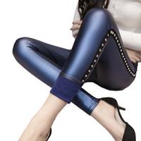 80fa58565e8 2017 Velvet Pants Women Thick PU Leather Rivet Pants High Waist Warm Winter  Sexy Slim Plus Size Pencil Trousers pantalon femme S18101606