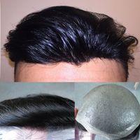 슈퍼 얇은 스킨 망 toupee 남자 교체 시스템을위한 검은 전체 펍 toupee 헤어 피스 인간의 머리카락 8x10inch 남자 머리