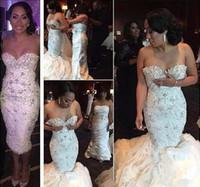 Vestido de fiesta de boda magnífico vestidos de encaje con cuentas de cristal Shinny Vestidos de novia sirena cariño tren desmontable