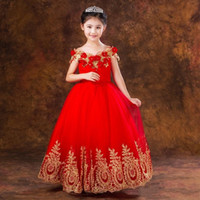 Princess Ball Gown Red Lace Flower Girls Abiti per matrimoni Compleanno Comunione Bambini Stage Performance Nuovo Arrivato Girls Pageant Gowns