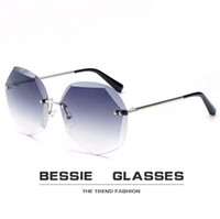 2 pieces 2018 NEW Sexy Frameless Crystal Trimming Sunglasses...
