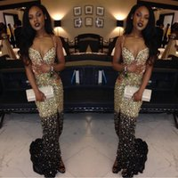 Sexy Sparkly African Black Girls Crystal Prom Dresses 2018 S...