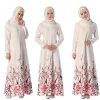 Musulmanes para mujer Abaya vestido o-cuello de manga larga de la manga larga de longitud floja impresa islámica jilbab hijab kaftan mujer étnica ropa DK729MZ