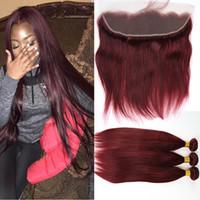 Бразильские бордовые волосы с кружевной лобной замыканием 13x4 дюймов шелк прямой # 99J вина красные волосы человеческие пакеты с ухом для уха полные фронтальные