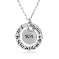 Neue Mode Letters Dad Mom Runde Anhänger Halskette Silber Überzogene Schmuck Geschenke für Mutter Vater Seine Engel Chokerhalsketten Lose Großhandel