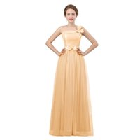 Gold Brautjungfer Kleider lange eine Schulter Tüll eine Linie billig formale Brautjungfer Kleid 2018 reales Bild