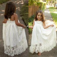 Bianco Boho Flower Girls Dresses for Weddings 2017 Perle di perline Halter Abbastanza Una linea Backless Lace Comunione Abiti Toddler Party Skirt