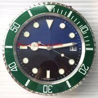 8 스타일 럭셔리 고품질 벽 시계 바다 거주자 116610 116710 벽 시계 34cm x 5cm 3kg 쿼츠 전자 블루 발광 시계