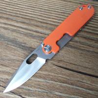 Y-START LK5009OR Couteau à haricots Survie en plein air EDC Mini Couteau de poche 440C Lame à lavage en pierre G10 + Poignée en titane Poignée à billes