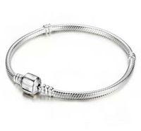 Prezzo basso all'ingrosso della fabbrica 925 bracciali in argento sterling 3mm catena del serpente Fit Pandora Charm Bead Bangle braccialetto gioielli regalo per le donne degli uomini