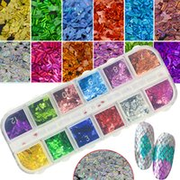 12 Color Set Colorful Laser Nail Flakes Rhombus Thin Stripe ...