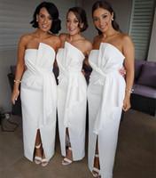 Ön Yarık Afrika Gelinlik Modelleri Straplez Ayak Bileği Uzunluk Kılıf Ucuz Onur Düğün Parti Konuk Elbise Akşam Balo Parti Elbise