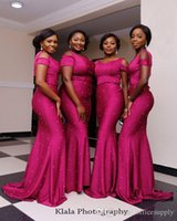 2018 Nigerian African Fuschia Mermaid Abiti da damigella d'onore Scoop Neck Beads Perle Wedding Party Maid Of Honor Dress Abiti da sposa per gli ospiti