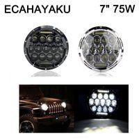 "Ecahayaku 75W LED Motorcycle Motorbike Fariture 75W High High High Ronda 7 ""Lámpara de cabeza de faro de Daymaker Draklight DRL para Harley para Jeep"