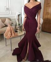 Бургундия сексуальные вечерние платья элегантные с плеча эластичный пятно сплит Ruched русалка выпускного вечера платья плюс размер