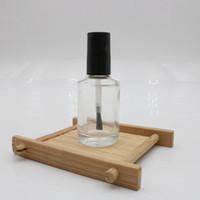 15 ml Leere Nagellack Flasche Mit Pinsel Nachfüllbar Klarglas Nail Art polnischen Vorratsbehälter schwarz Deckel
