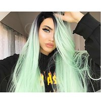 Fashion 2 Tones Ombre Light Green Cosplay Long Straight Wig ...