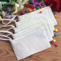 Deux couches blanc coton toile cosmétique Sacs bricolage femmes blanc plaine fermeture à glissière maquillage sac téléphone pochette d'embrayage poignée organisateur cas crayon pochette