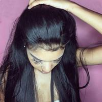Peluca frontal de encaje 360 Pelucas de cabello humano recto de frente de densidad 150% Peluca frontal de encaje peruano desplumado con cabello de bebé