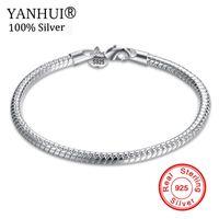 Yanhui غرامة مجوهرات 100٪ الأصلي الصرفة 925 فضة سحر أساور للرجال والنساء مع s925 ختم هدية الزفاف hb001