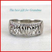 925 Sterling Silber Ring Oma Brief Diamant Ring Schmuck Familie Geburtstag Dame Bestes Geschenk Größe (USA) 5-11