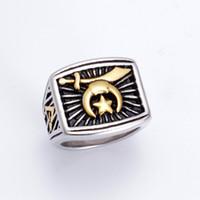 Мода Two Tone Серебро Золото Нержавеющая сталь Религиозный Shriner масонское кольцо мусульманской Луны и звезды ювелирных изделий Camel Hat Меч Shrine кольца