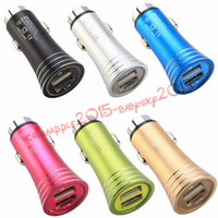 car charging Led light Dual usb ports 2.1A+1A metal alloy car charger power adapter for iphone 5 6 7 samsung s8 note 8 gps mp3 pc