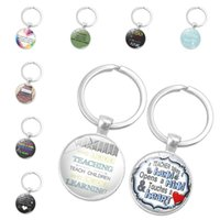 Quote Great Teacher Take a Hand Thank you Glass Cabochon Key...