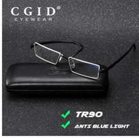 CGID супер свет TR90 очки для чтения анти синий луч Полуободковые очки металла половина кадра для мужчин женщин с Case LH3004