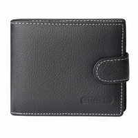 2019 Wallet Men 100% cuero genuino Short Wallet For Man Vintage Cow Leather Casual Hombre Carteras Monedero Titulares de tarjetas estándar