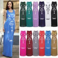 Elbiseler Kadınlar Uzun Maxi Elbise Kedi Baskı Elbiseler Plaj Akşam Parti Bodycon Sundress Seksi Moda Rahat Yelek Elbiseler kadın Giyim B4035