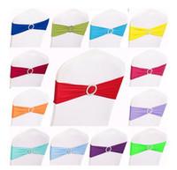15 x 35cm Multi Color Spandex Hochzeit Stuhl Schärpen elastisch abnehmbar mit runden Diamantschnalle Dekor