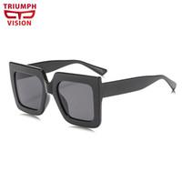 3131905290203 TRIUMPH VISÃO Homens Negros Oversized Quadrado Masculino Óculos de Sol  Grande Quadro Tendências Lunette Verão Fresco Shades Oculos Oculos de Sol  Planas
