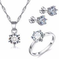 Koreanische Version der heißen Außenhandel Schmuck-Set Großhandel Mode Zirkon Sechs-Klauen-Ohr Nagel Halskette Ring hochwertige drei Stücke