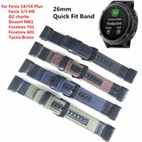26mm Genuine Nylon + Leather Watchband for Garmin Fenix 5X  ...