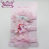 Nishine 3pcs / set Unicorn Crown Baby-Stirnband-Blumen-Haar-Bogen-Einhorn Haarband Set Mädchen-Geburtstags-Geschenke Party-Kopfbedeckung