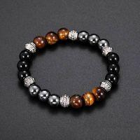 Очарование натуральных каменных браслетов Высокое Качество Серебро черный Корона Бусина Мужские Браслеты Браслеты Браслеты Для Женщин Мужчины