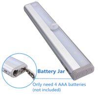 Sensor de movimento Night Light Wall Light Legal Branco 10 LED Bateria Cabine Closet Escadas Quarto Cabine Luminária de Iluminação