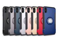 حالات TPU الهجين + PC 2 في 1 حالة درع واقية من الصدمات 360 حلقة حامل الغلاف الخلفي المغناطيسي لiPhone11 الموالية ماكس س ص 7/8 pluus S9 S10 note10