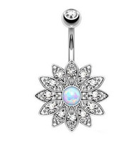 Mode baumeln Bars Nabel Bell Button Ringe Kristall Sonne Blume Körperschmuck Bauchnabelpiercing Ringe Großhandel