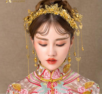Chinese bride headdress costume hair tassel wedding show clo...