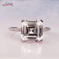 COLORFISH Luxury 4 ct Asscher Cut Обручальные кольца Solitaire Для женщин Синтетическое SONA Подлинное Обручальное Кольцо из стерлингового серебра 925 пробы S18101608