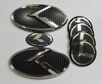 KIA New Forte YD K3 2014-2015 / 자동차 엠 블 럼에 대 한 7Pcs 3D 검은 색 탄소 K 엠블럼 스티커
