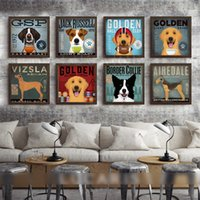 American Style Art Canvas Painting Dog Listen To Music Movem...