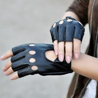 جديد وصول الإناث نصف اصبع قفازات القيادة 1 زوج الأسود بو الجلود أصابع قفازات للنساء