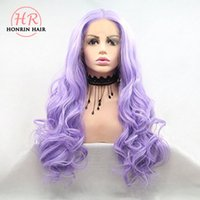 Honrin Hair Body Wave Wigs Purple Synthetic Lace Front Wigs ...