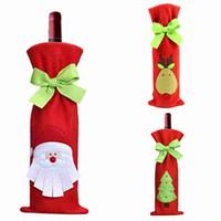 Weihnachten Wein Taschen Wein Abdeckung Weihnachtsschmuck New Xmas Weihnachtsmann Weinflasche Tasche Weihnachten Dinner Party Tischdekoration